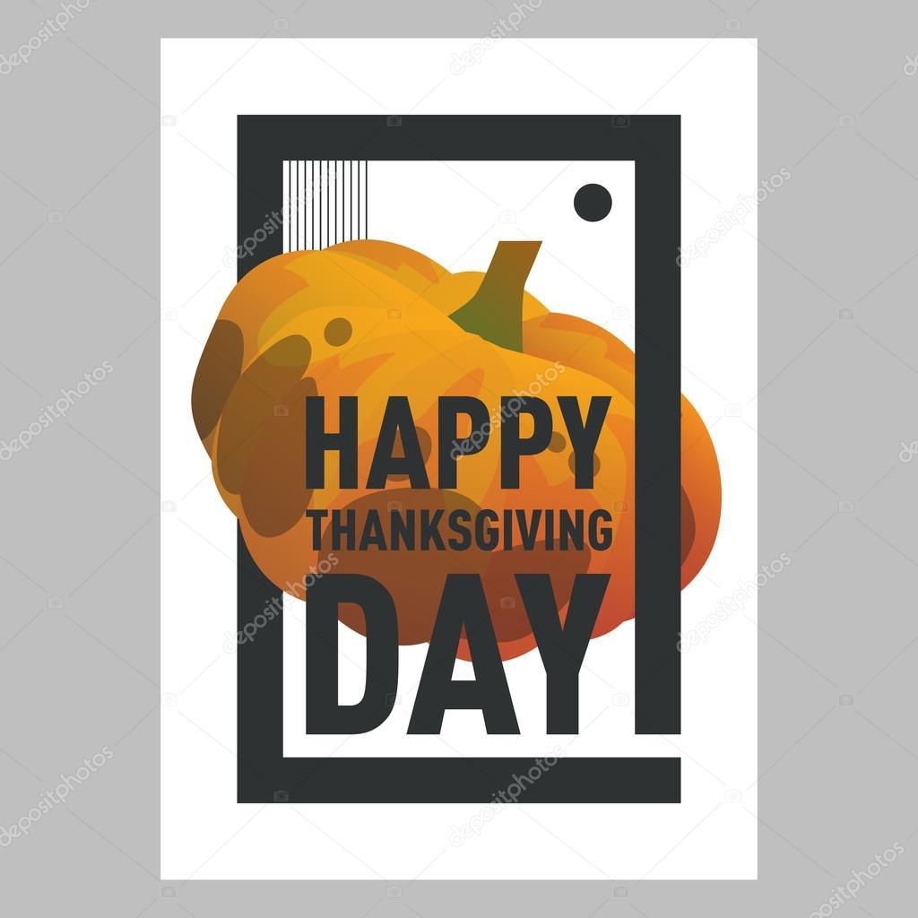Happy Thanksgiving Day orange Kürbis Postkard. Herbstferien ...
