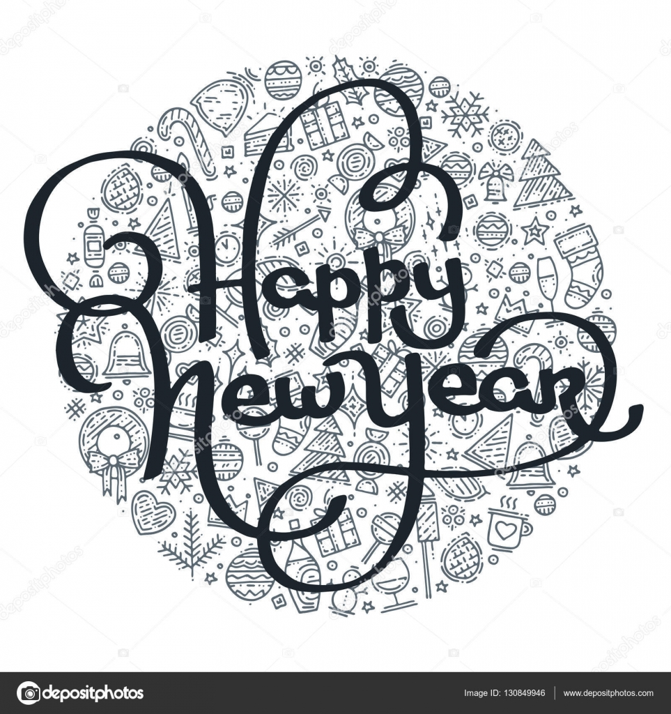 black and white lettering on different icons background happy new year lettering for greeting card with new year elements in circle