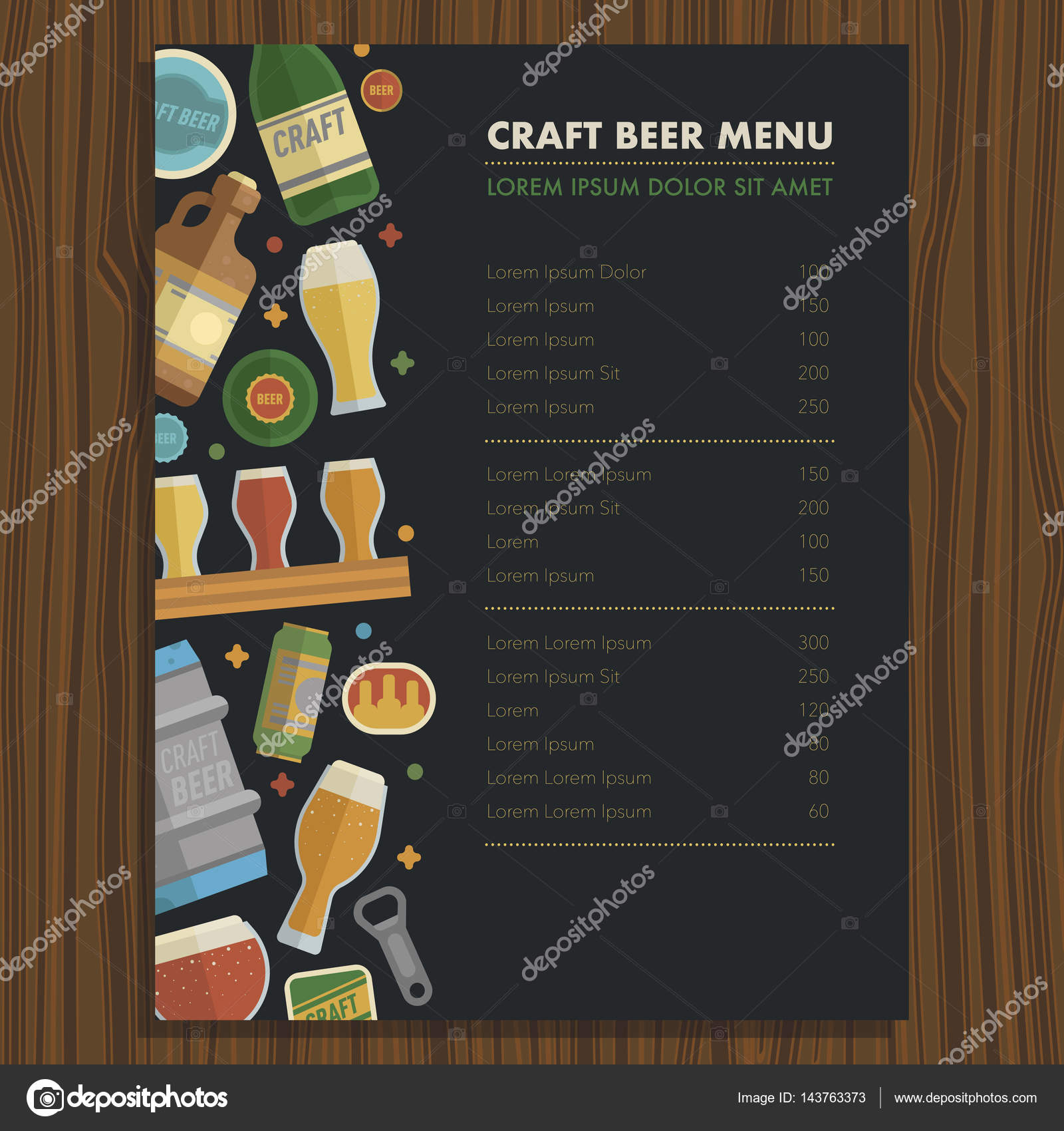 Craft Beer Menu Template For Bar And Restaraunt Stock Vector