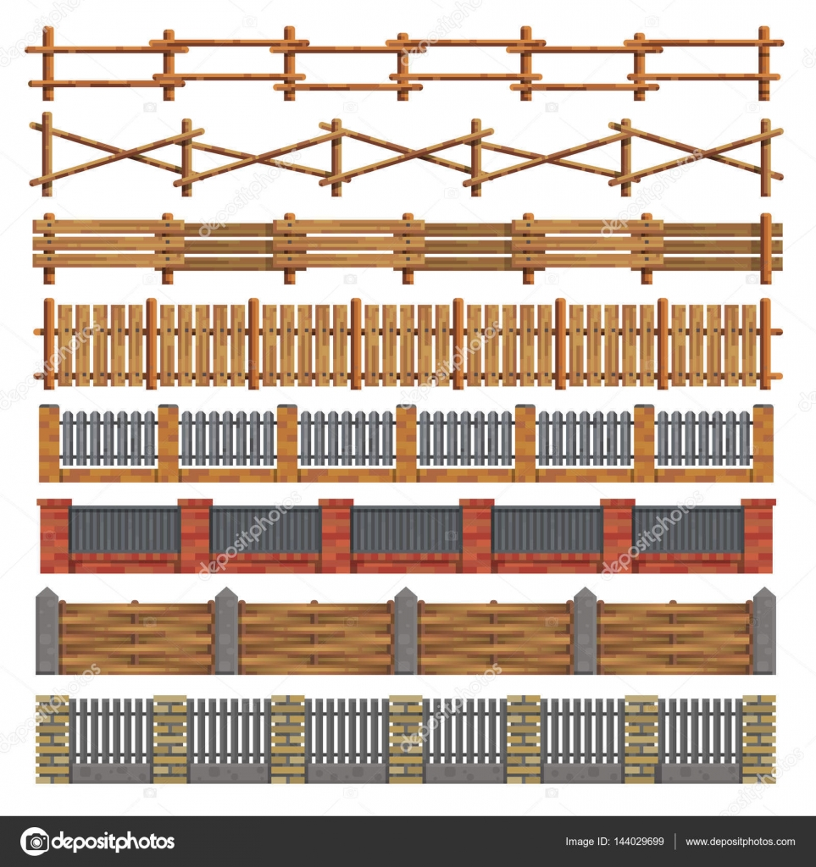 Diferentes vallas de madera y ladrillo vector de vector - Vallas exteriores para casas ...