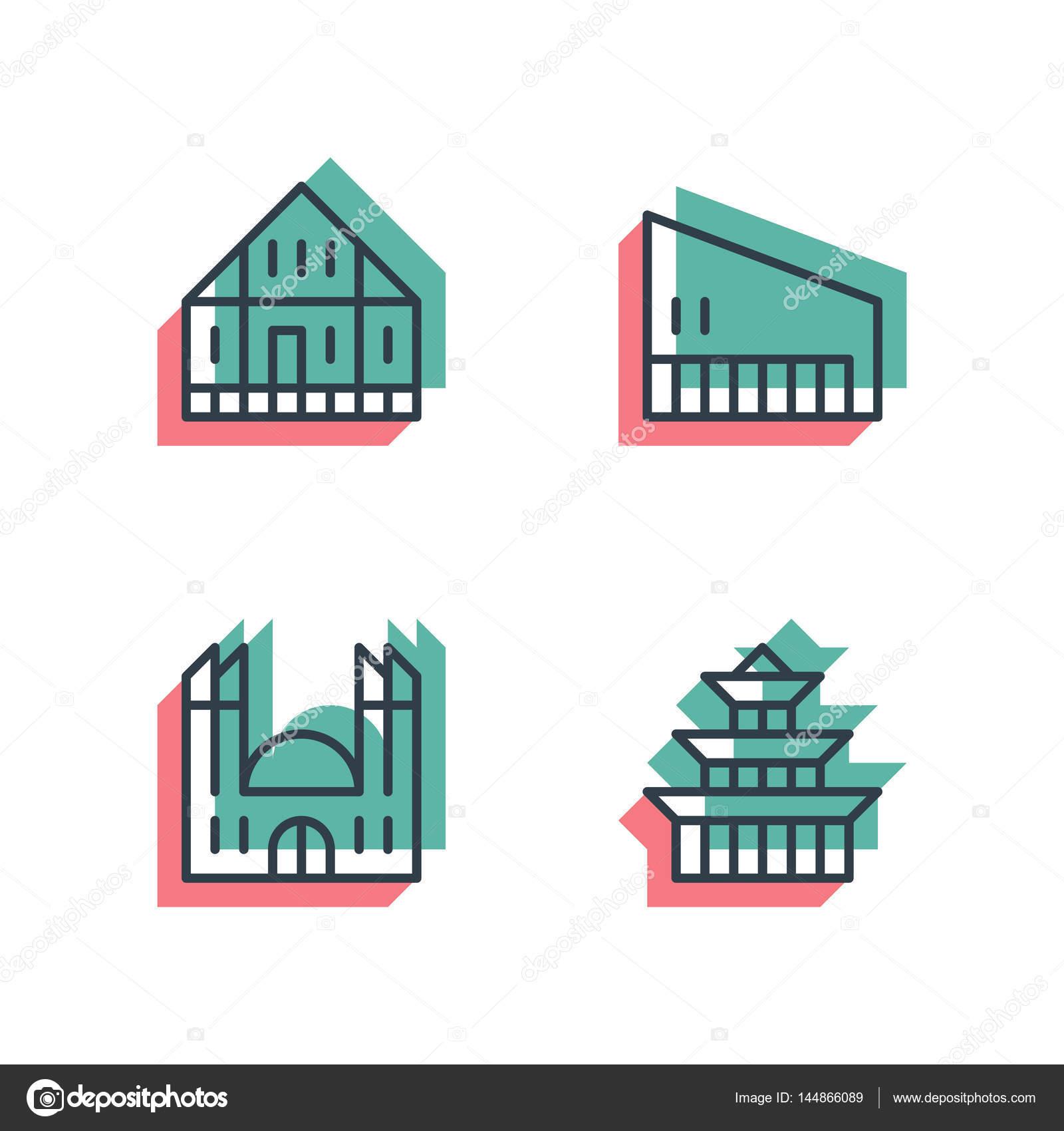 Anaglyph 3d Bunten Stil. Unterschiedliche Symbole Für Haus, Gebäude,  Einrichtungen Und Fabriken. Geeignet Für Web Und Print Isoliert  Vektor Icons U2014 Vektor ...