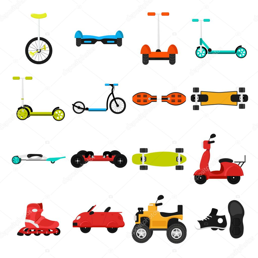 Different urban parks activity sport wheel devices, vehicles and transport vector illustration set. Solo Unicycle, Gyro pod skate, Segway, Scooter, Skate board, Ripstik, roller Skates, Baby manual car