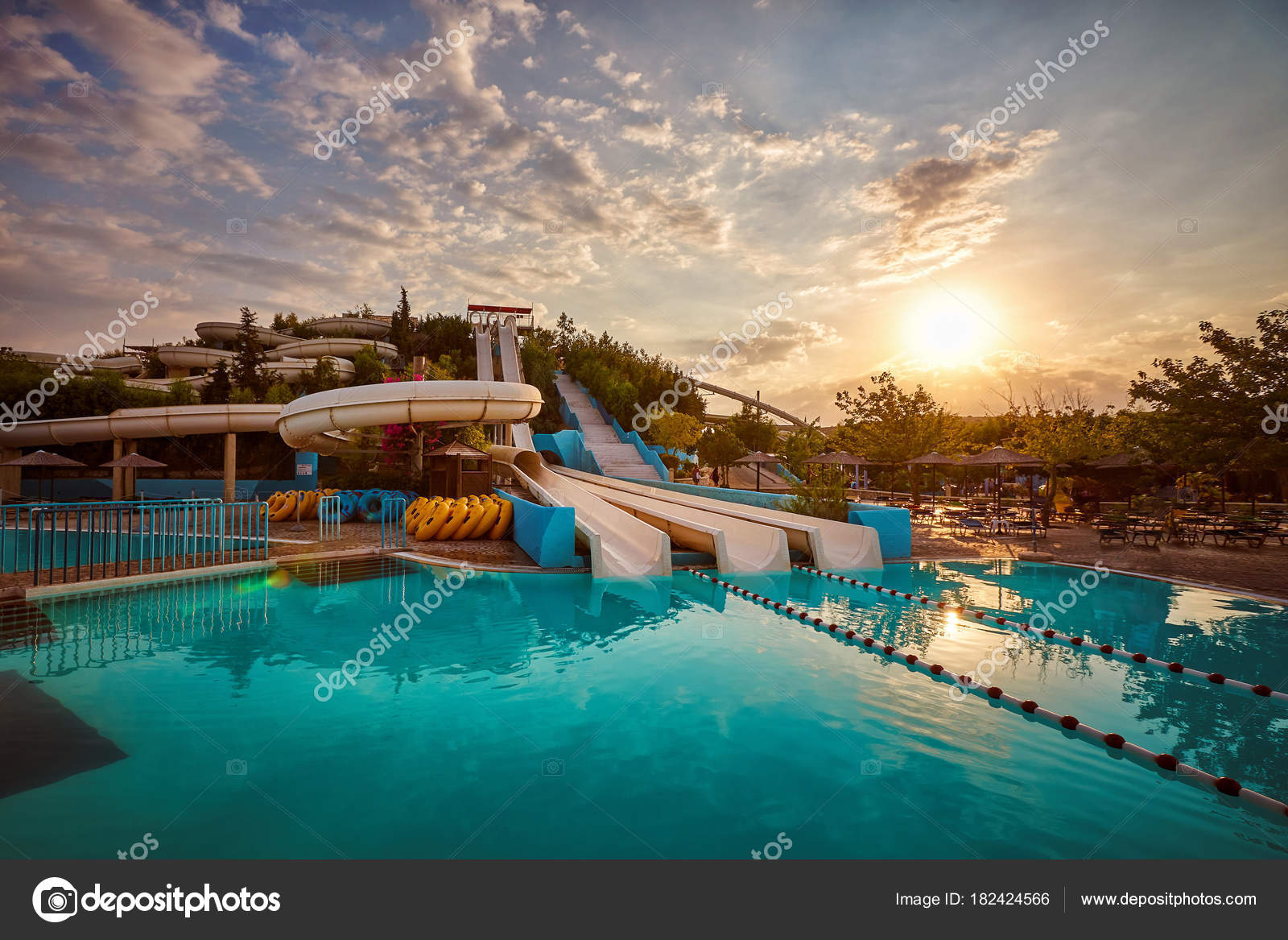 Water Slides Pool Aquapark Sunset Stock Photo C Vlade Mir