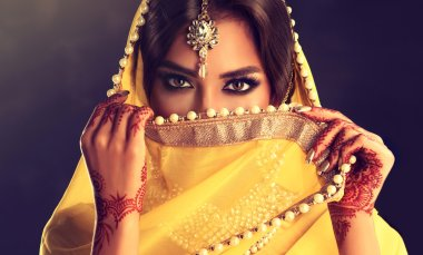 Portrait of beautiful indian girl .