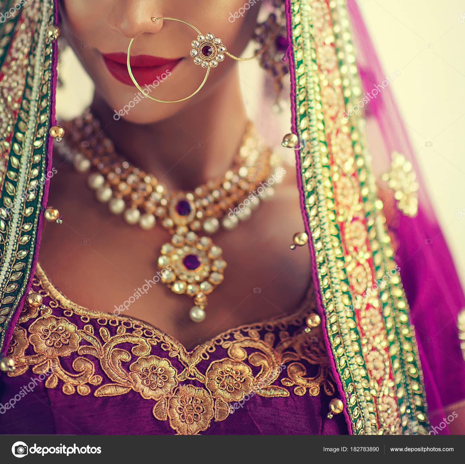 Portrait Beautiful Indian Girl Young Hindu Woman Model Kundan ...