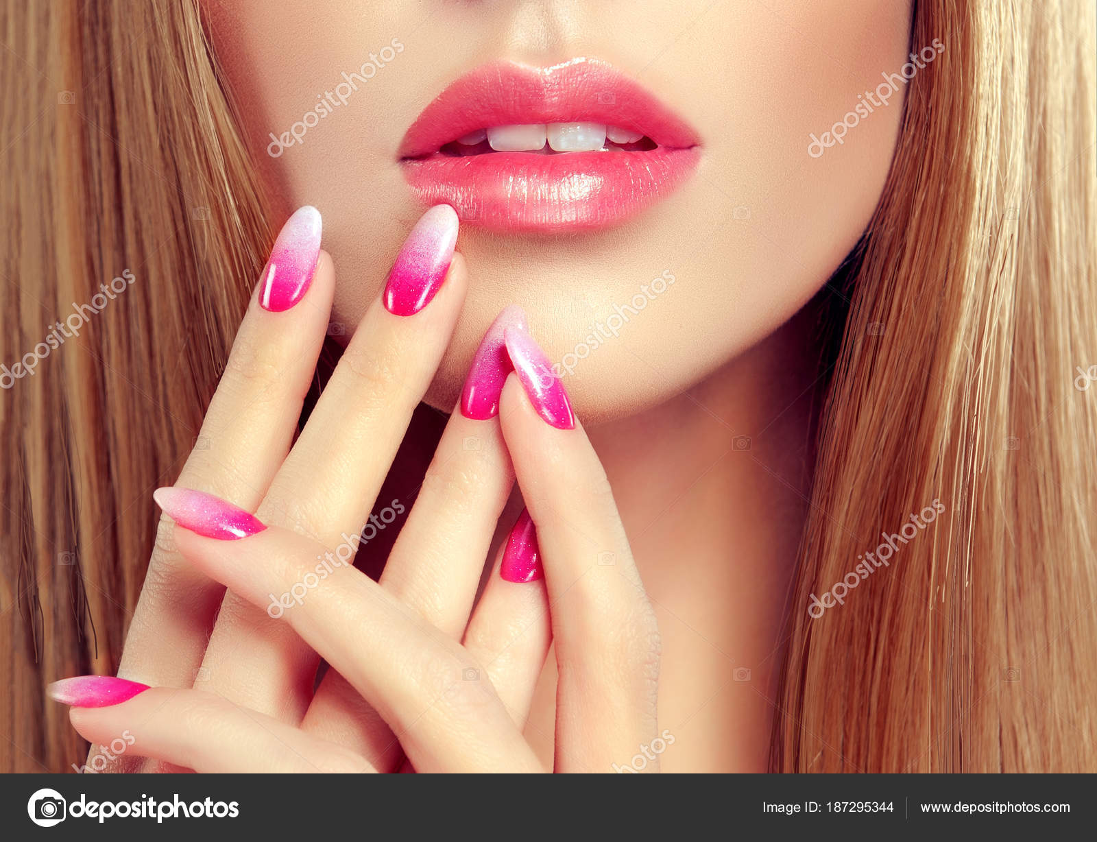 Beautiful Girl Long Straight Hair Model Woman Showing Pink Manicure ...