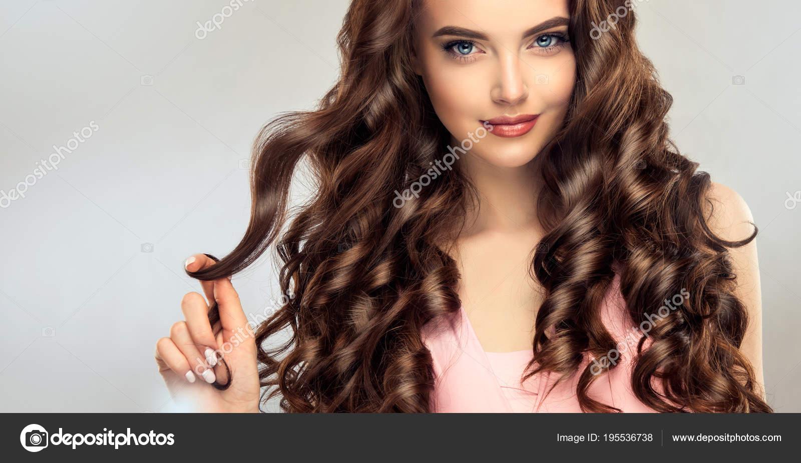 Brunette Girl Long Healthy Shiny Curly Hair Beautiful Model Woman
