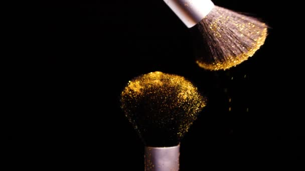 Gold Colour, Paint Concept, Make up brush with Yellow Powder, Slow Motion