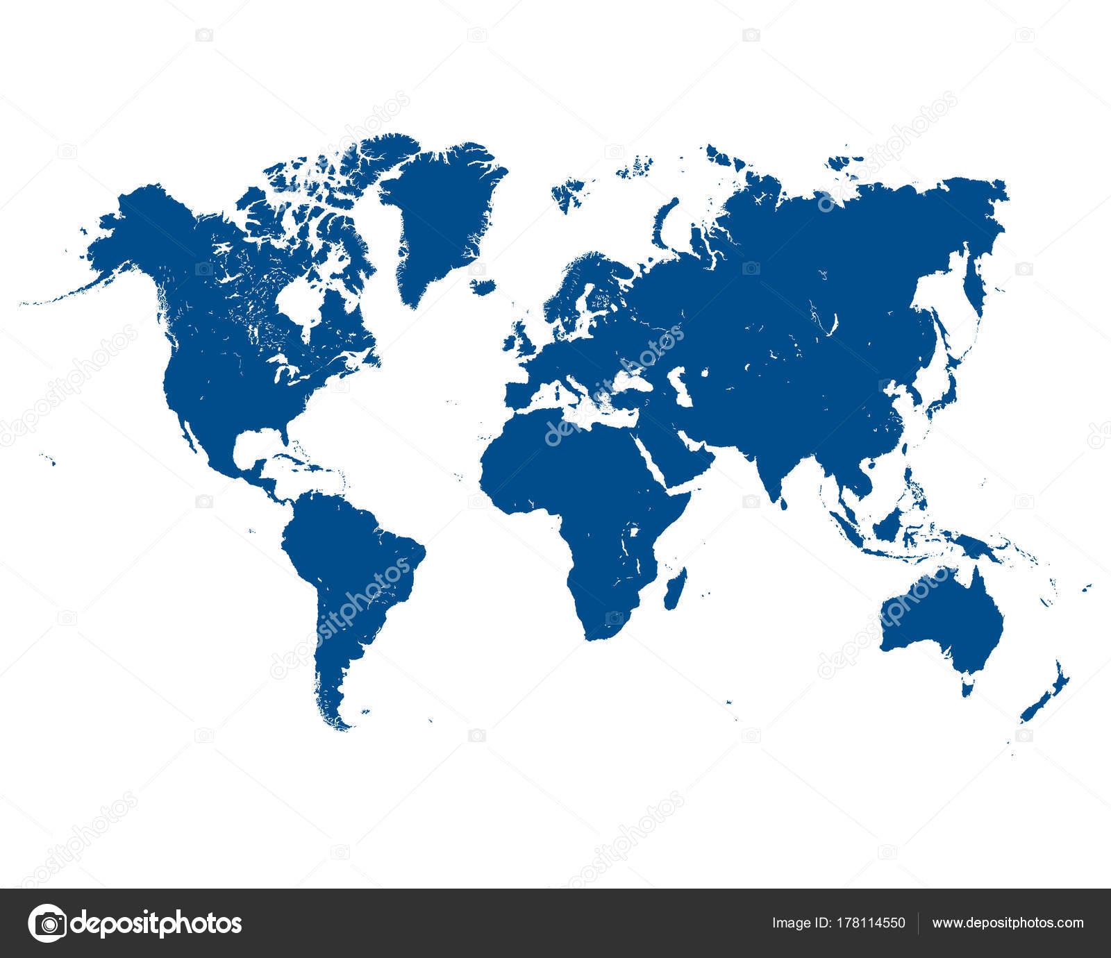 Vector Illustration Blue Map World White Background — Stock Vector ...