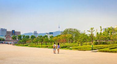 Entrance garden of Jongmyo Shrine at summer on Jun 17, 2017 in S