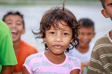 Portrait of Aeta tribe little girl near Mount Pinatubo on Aug 27