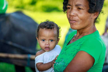 Portrait of unidentified Aeta tribe people on Aug 27, 2017 in Sa