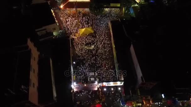 PHUKET, THAILAND October 7, 2016:Aerial:Vegetarian festival.Stairs, many people.