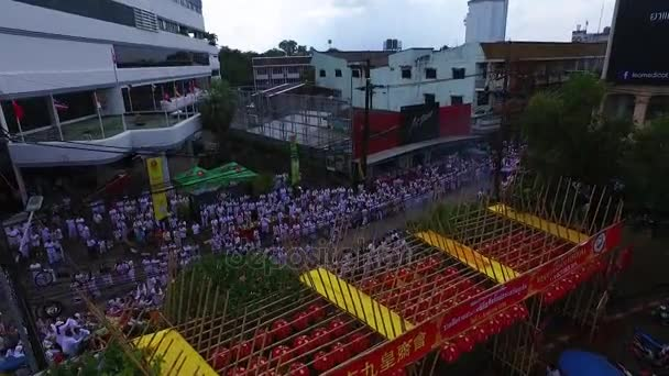 PHUKET, THAILAND October 7, 2016:Aerial:Vegetarian festival. City streets.