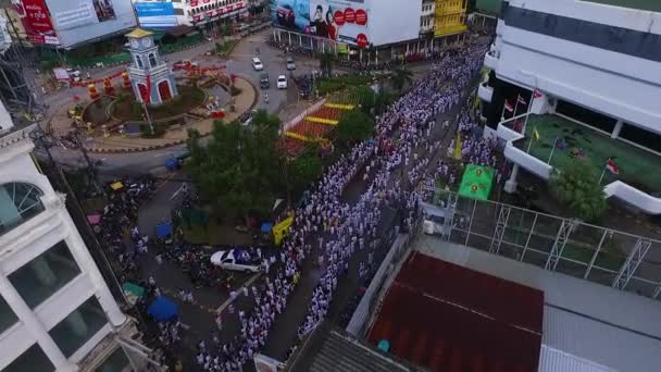 PHUKET, THAILAND October 7, 2016:Aerial:Vegetarian festival. Many people.