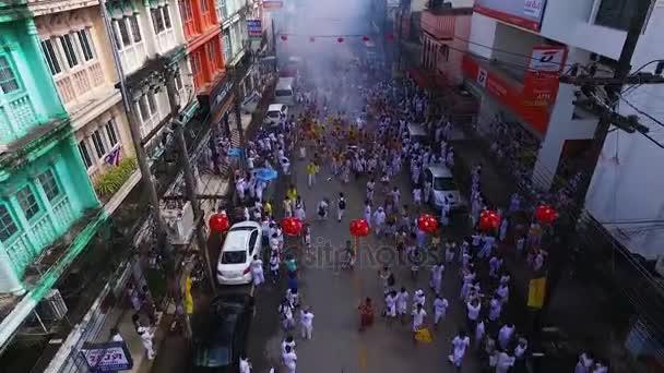 PHUKET, THAILAND October 7, 2016:Aerial:Vegetarian festival.  Firecrackers.