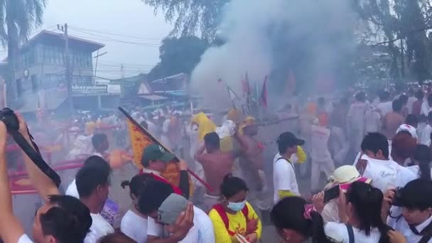 PHUKET, THAILAND October 7, 2016: Vegetarian festival. Firecrackers war.