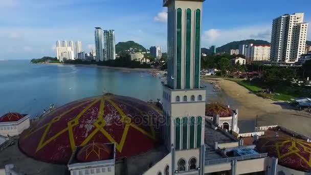 PENANG, MALAYSIA October 15, 2016:Aerial:Beautiful mosque on coastline of Penang