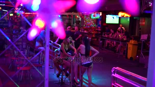 BANGKOK, THAILAND April 20, 2017:Red Light street girls are standing and talking