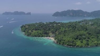 Aerial: View on Phi Phi islands and small beach. Thailand.
