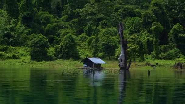 A detached house on the shore of the lake near the jungle.