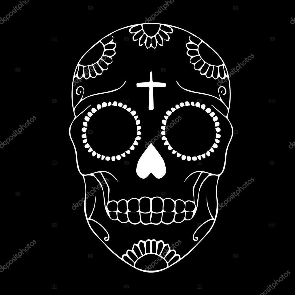 Vector Skull Skull Illustration Skull Tattoo Colored Day Of The