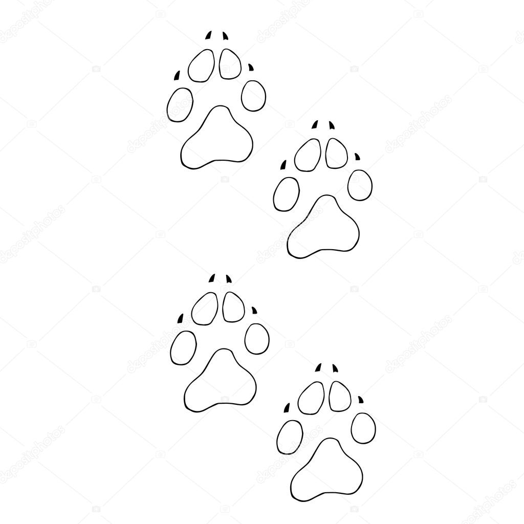 trail dogs abstract animal footprint vector background
