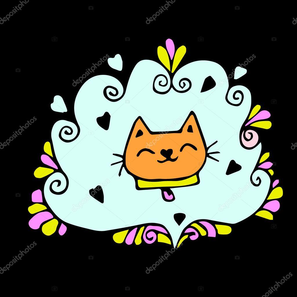 Cute Cat Art Wallpaper Cat Background Vector Illustration Cat