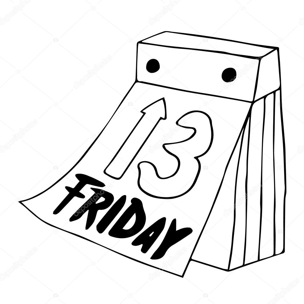 Calendar Drawing Cartoon : Friday the th icon calendar poster