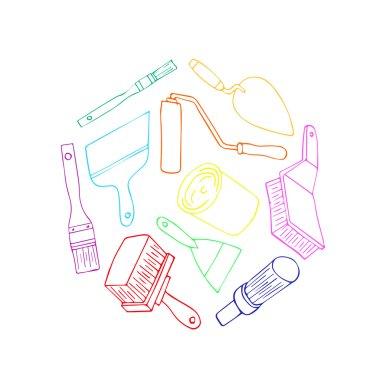 Set for repair. Repair work, icon repair organization. Painter instrument for painting flat brush roller paint jar. Brush for paint and the roller for paint. Elements for design. Repair cartoon vector. Repair set vector illustration. Repair icon logo