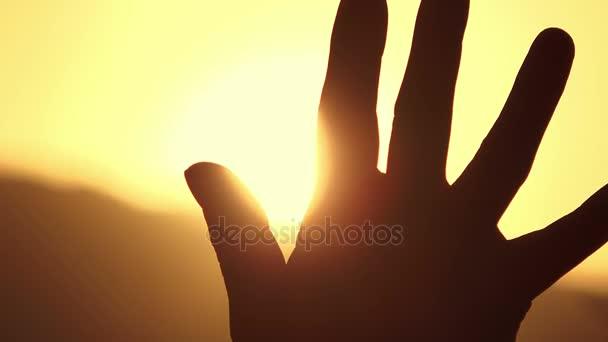 kéz a háttérvilágítás menedéket, a nap