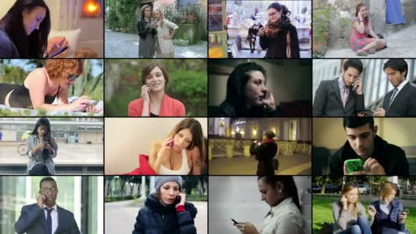 Multiscreen -young People using mobile phone in different situation. 4k footage