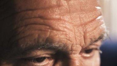 Close up on Old sad  Man's Eyes
