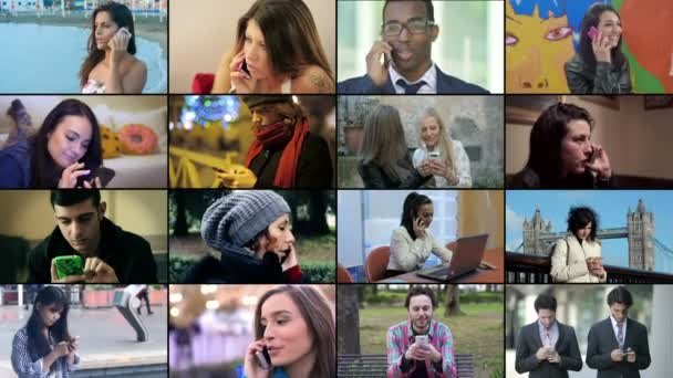 Composition of young people using smartphone in their lives. 4k