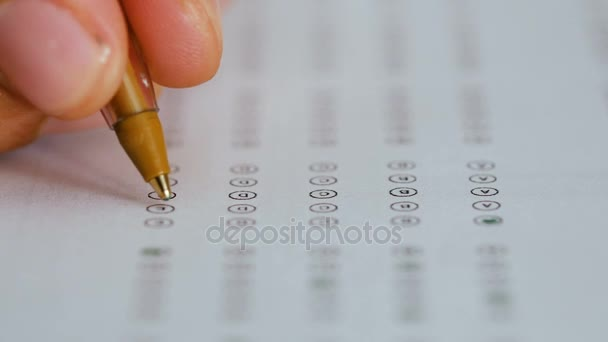 Filling in  a multiple-choice test