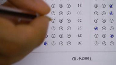 Marking answers in a multiple-choice test- close up