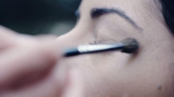 Použití očních stínů na oči, zblízka