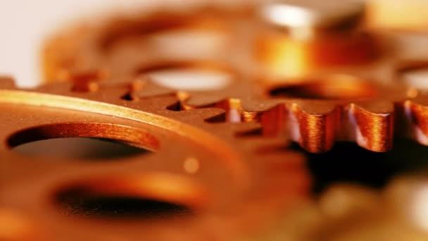 clock s mechanism- wheels spinning, close up