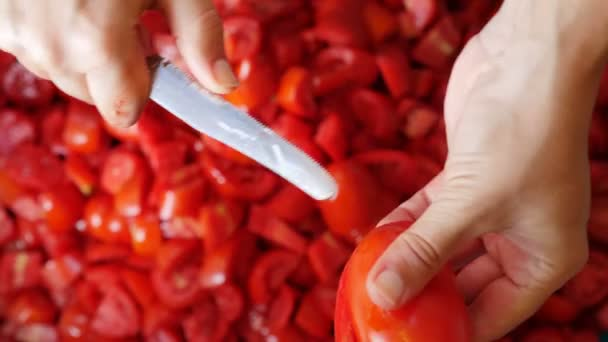 Krájení čerstvých rajčat závěr