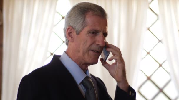 Charming mature business man talking by phone in his office