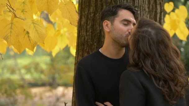 romantic couple kissing under a tree in the park fall