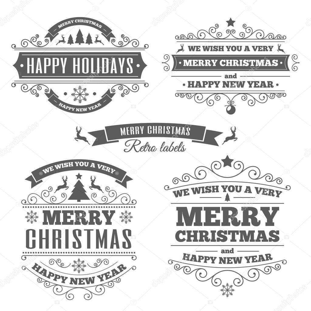 Etiketten Frohe Weihnachten.Frohe Weihnachten Vintage Etiketten Schwarz Farbe Stockvektor