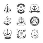 Fotografia Impostare logo dellancora e yacht club. Impostare retrò Vintage logotipi o insegne. Elementi di disegno vettoriale, business segni, loghi, identità, etichette, scudetti, abbigliamento, nastri, adesivi e altri oggetti di branding