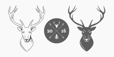 Deer head isolated logo set on white background for hunter club