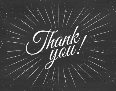 Thank you card with black background. Vector Illustration
