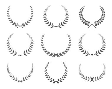 Vector black laurel wreaths icons set. Vector Illustration