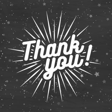 Thank you card on black background with stars. Vector Illustration