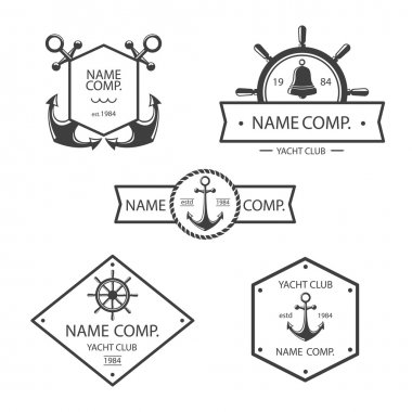 Anchor and yacht club logo set.