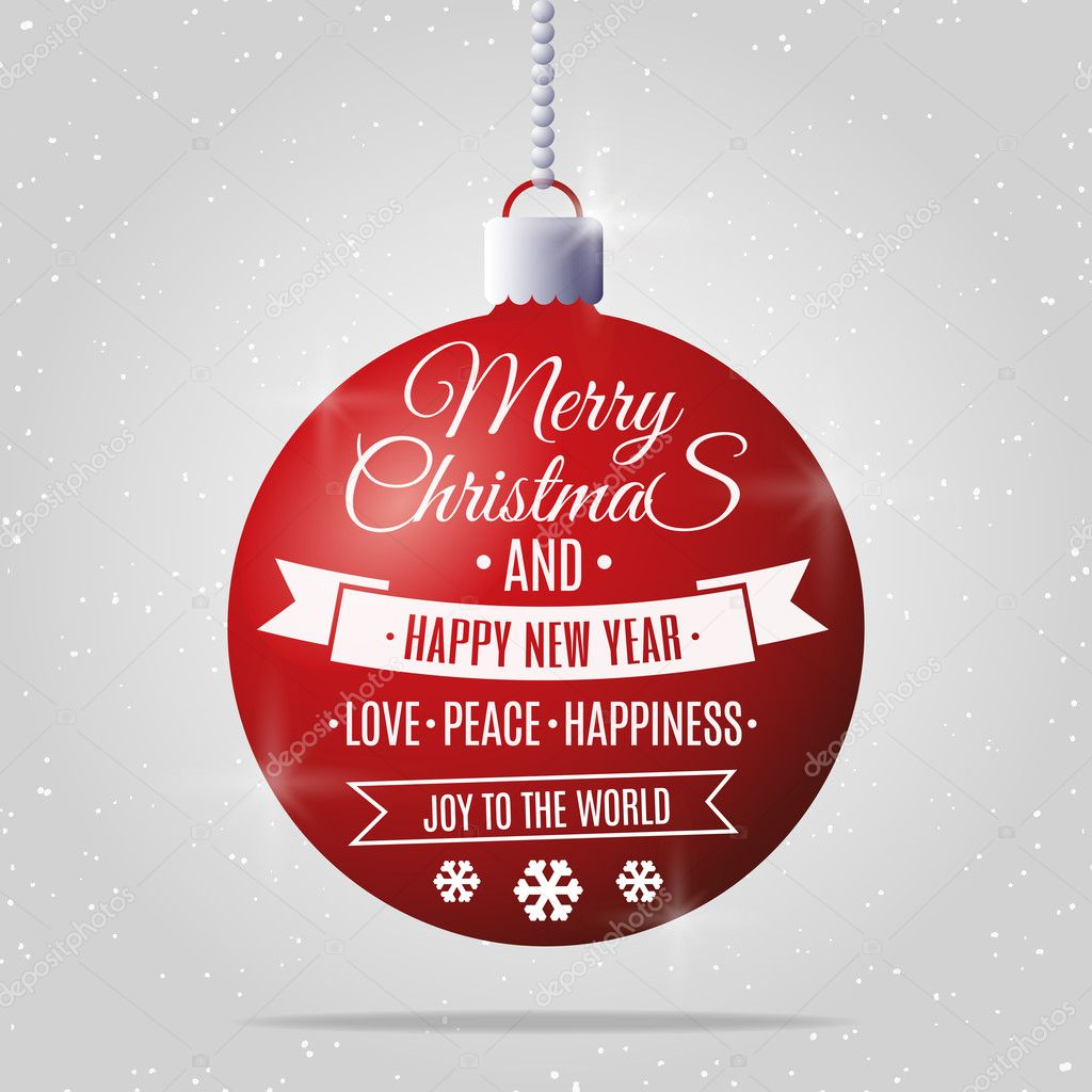 merry christmas and happy new year ball with vintage label happy new year vector illustration vector by vi6277
