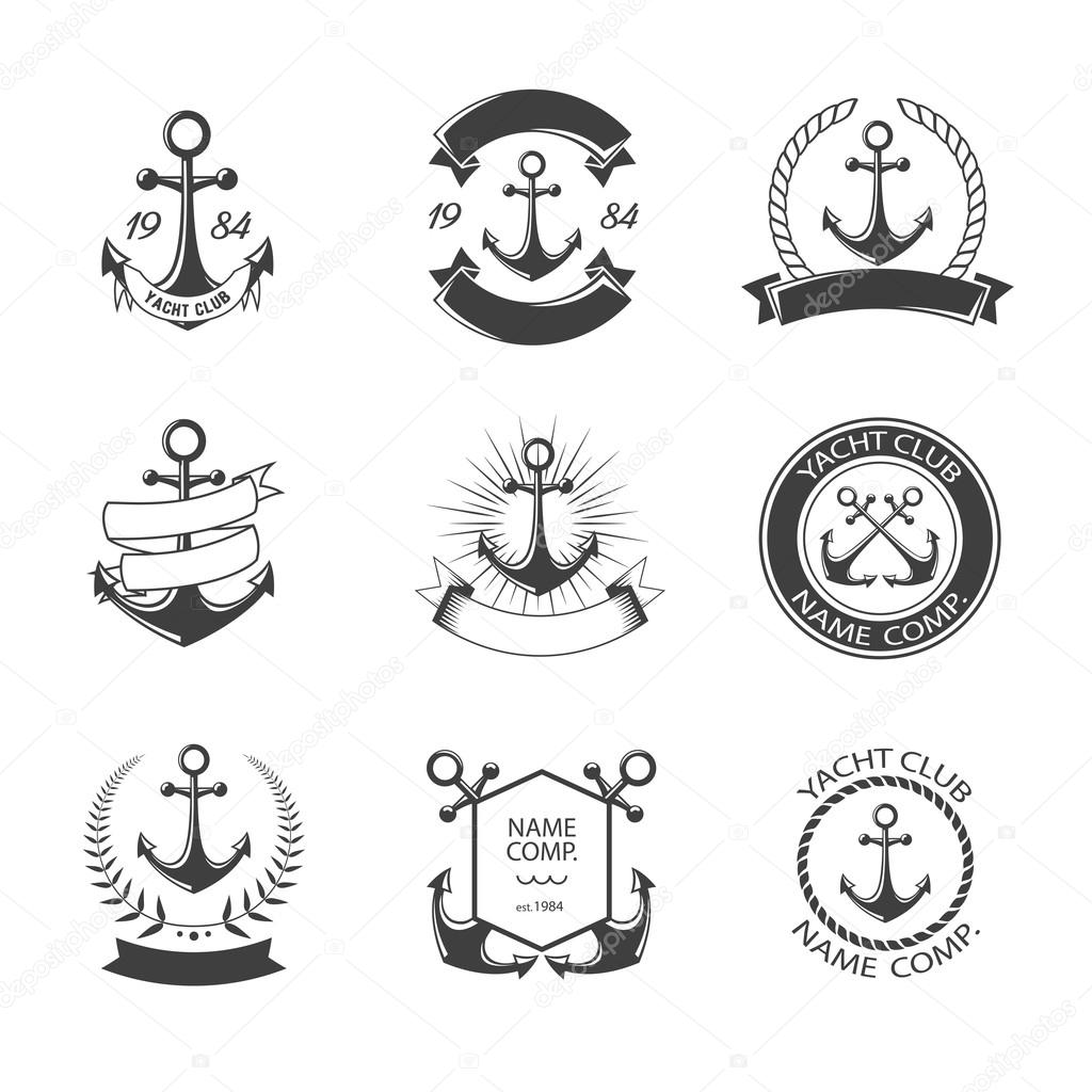 Anchor logo and yacht club set. Retro Vintage Logotypes or insignias set. Vector design elements, business signs, logos, identity, labels, badges, apparel, ribbons, stickers and other branding objects